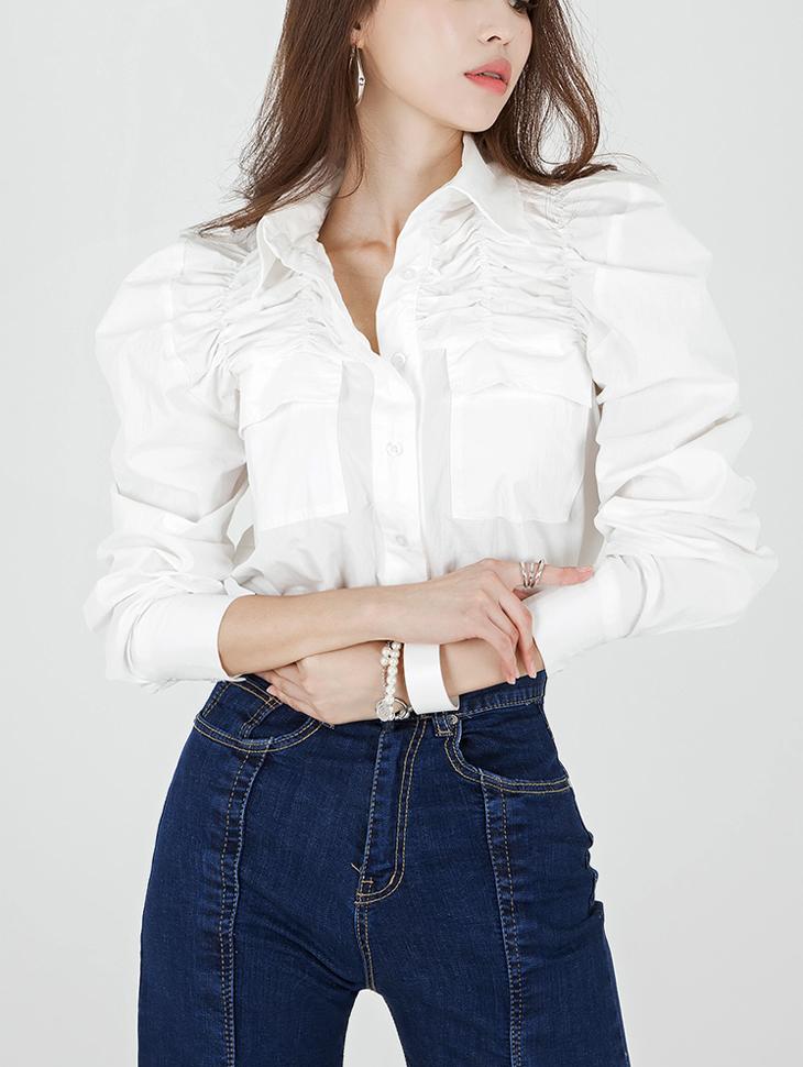 S320 宽袖皱褶衬衫