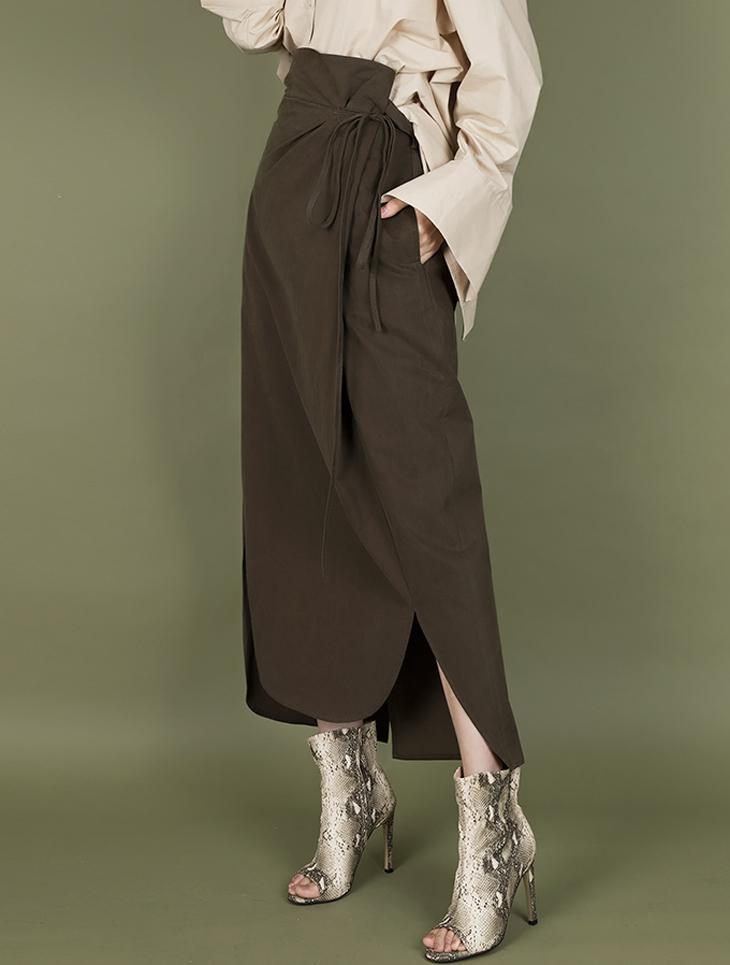 SK1930 棉料绑带高腰半身裙