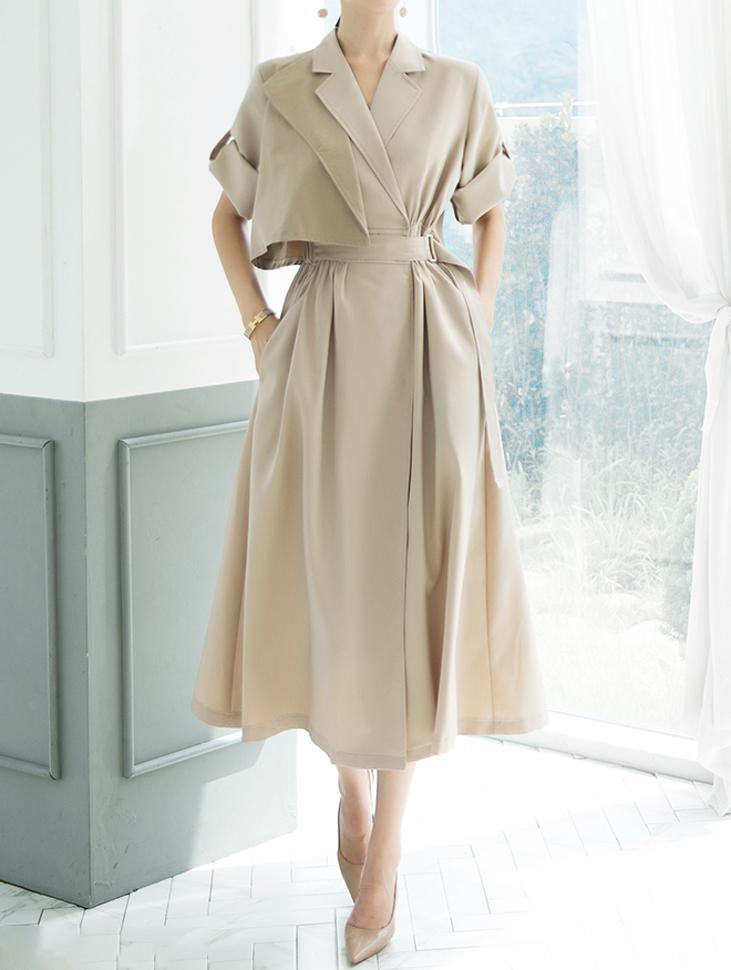 D3891 风衣配色绑带连身裙