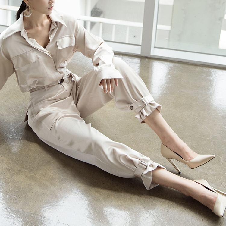 P2137 双口袋线条缩口裤 (腰带组合)