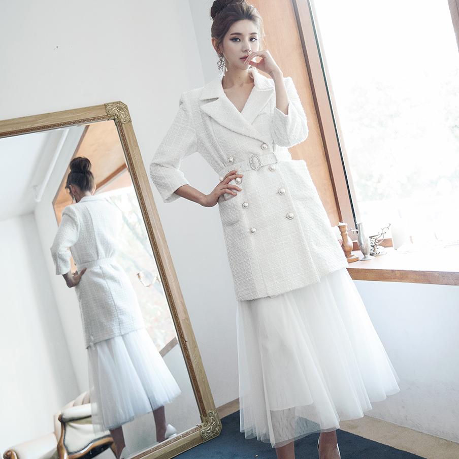 J732 珍珠粗花呢夹克 (腰带组合) *也能以连身裙着用*