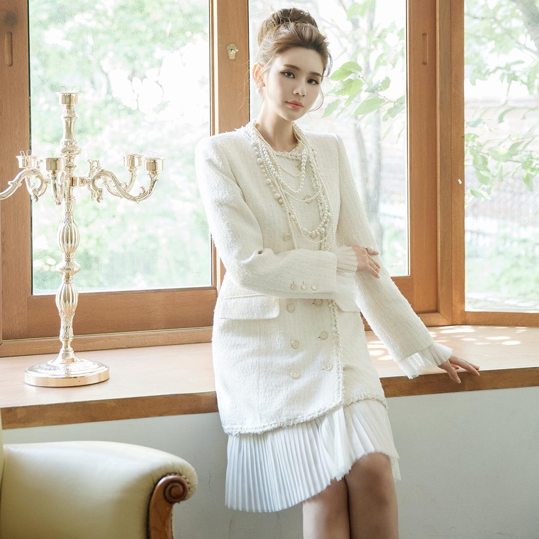 J736 浪漫雪纺百褶粗花呢长版夹克 *能用以连身裙着用*