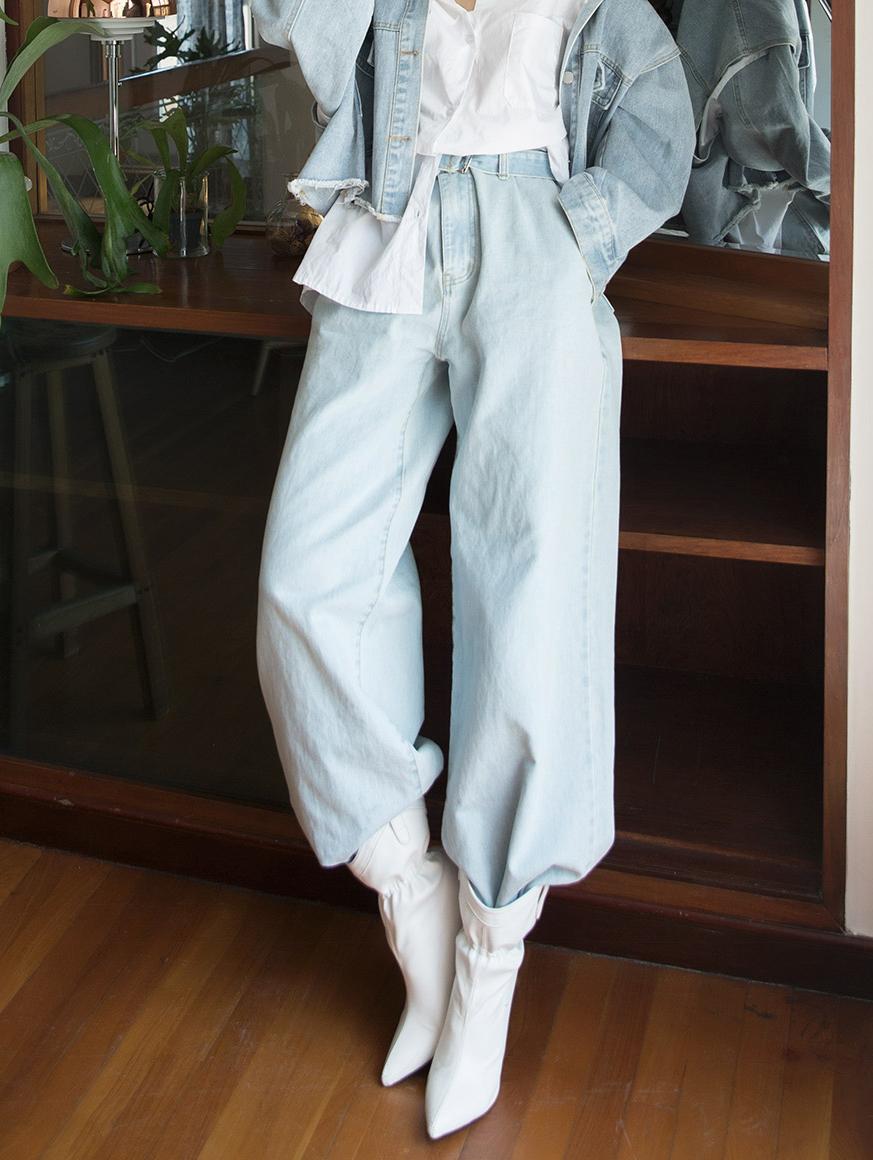 PJ387 极长宽裕丹宁裤 (腰带组合)