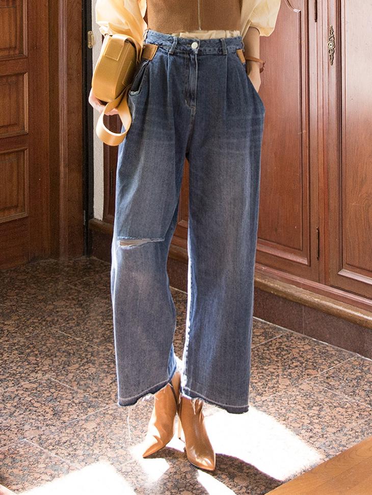 PJ388 休闲口袋曲线配色丹宁裤