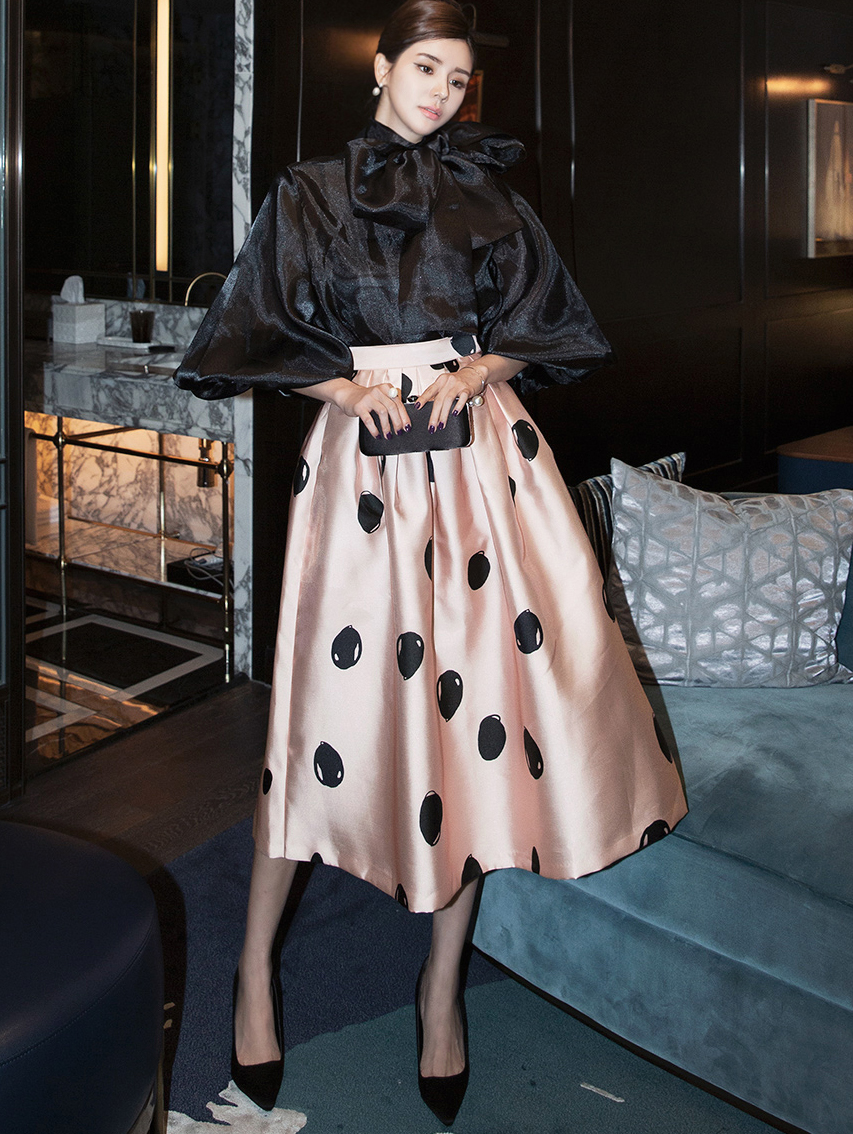 SK1953 公主点点喇叭半身裙