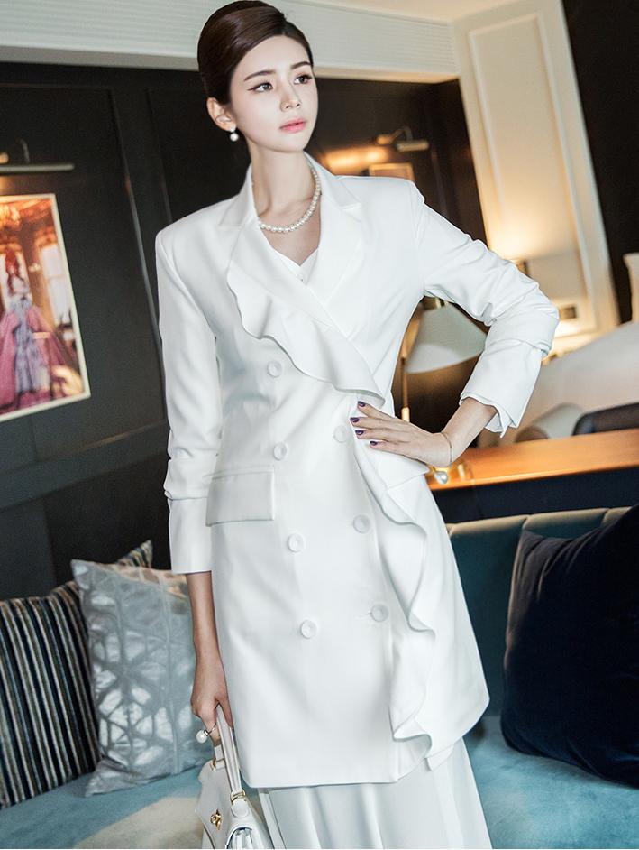 J760 荷叶边双排扣夹克 *能用以连身裙着用*
