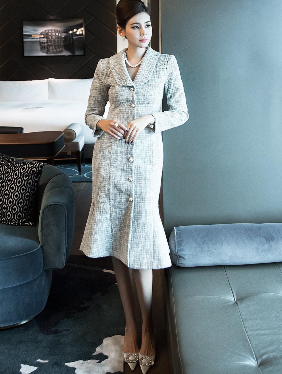 D3909 短领珍珠钮扣粗花呢连身裙