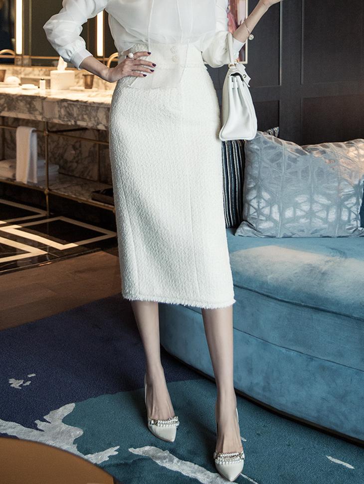 Sk1952 金扣H字型羊毛半身裙