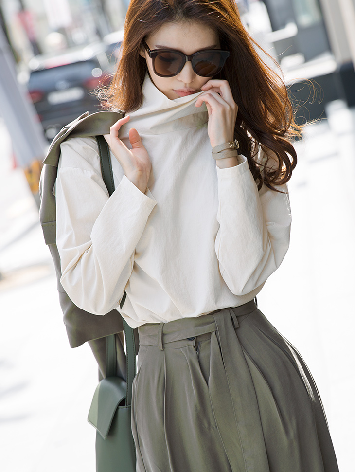 S337 高领棉料衬衫