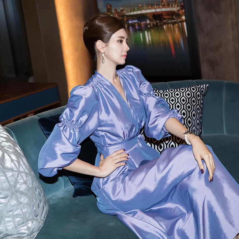 D3908 双截泡泡袖连身裙 (腰带组合)