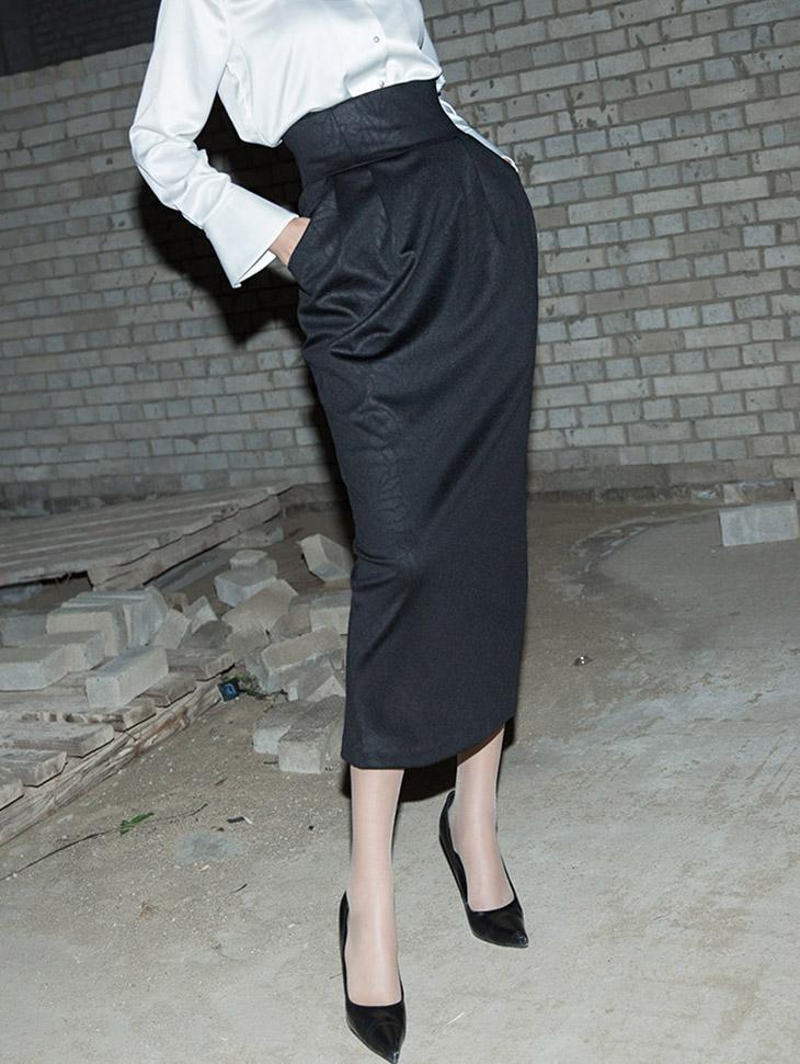 SK9054 皮革铅笔直筒半身裙