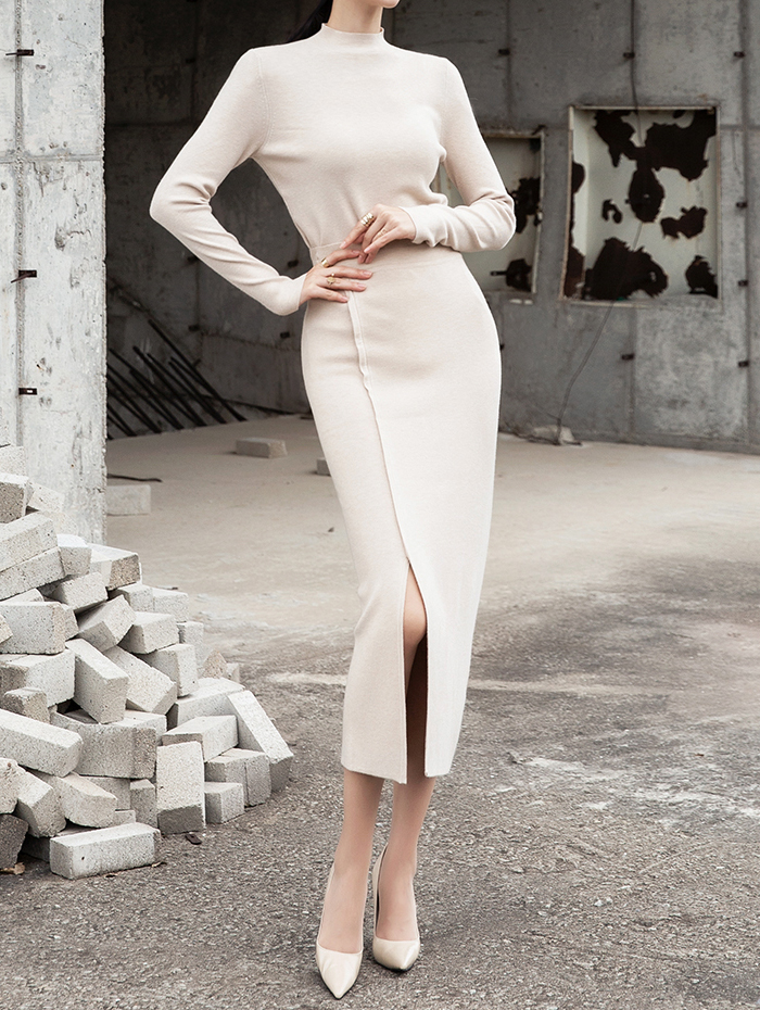 SK1955 舒适长板开岔半身裙