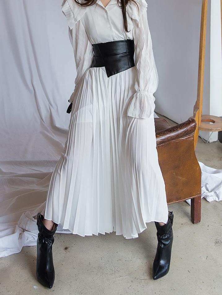SK1842 皮革重点百页长版半身裙 (8th REORDER) *秘密精品店 金宣儿 着用款*