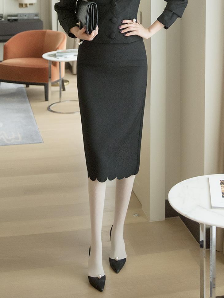 SK9001 波浪剪裁修身半身裙
