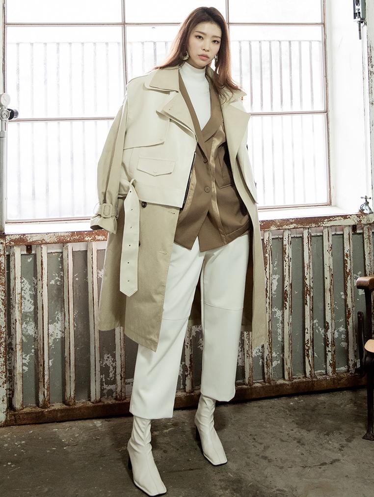 J805 皮革风衣 (背心&腰带组合)