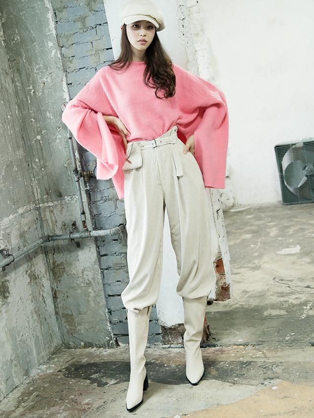 P2168 宽裕灯芯绒裤 (腰带组合)