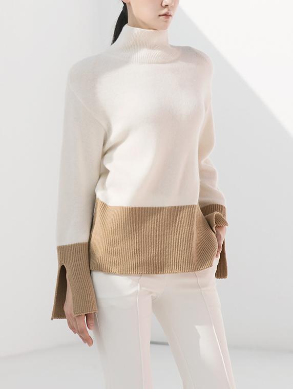 E2066 羊毛配色高领上衣