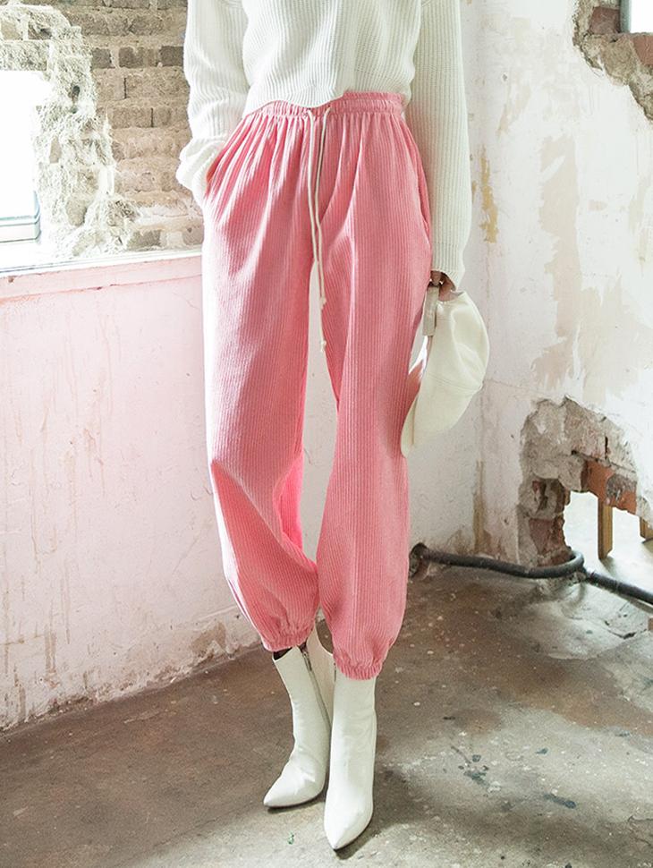 P2167 灯芯绒束口裤