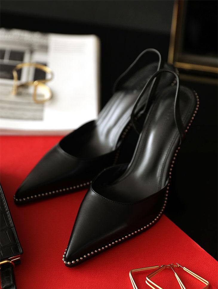 AR-2378 独特黑色露跟鞋