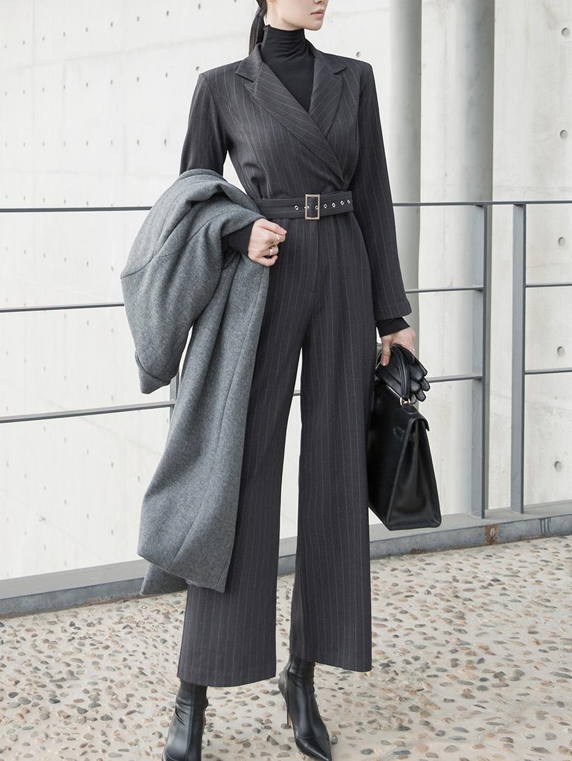 D3939 直条纹连身裤 (腰带组合)