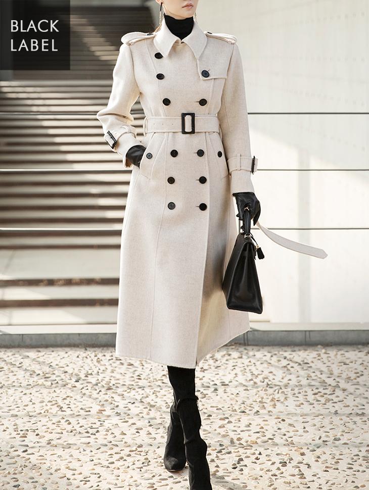 J832 双排扣风衣剪裁羊毛大衣 (腰带组合) *高价单品*