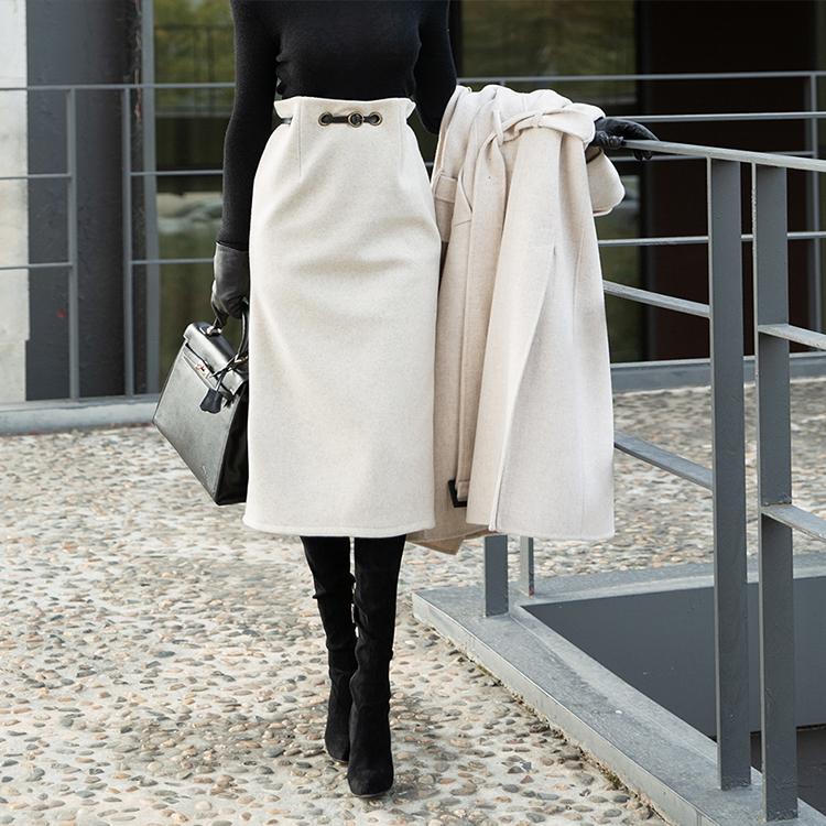 SK1974 羊毛半身裙 (腰带组合)