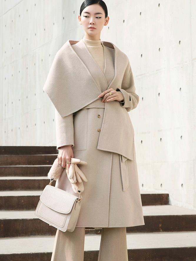 J835 无领羊毛大衣 (围巾+腰带组合) *手工制品*
