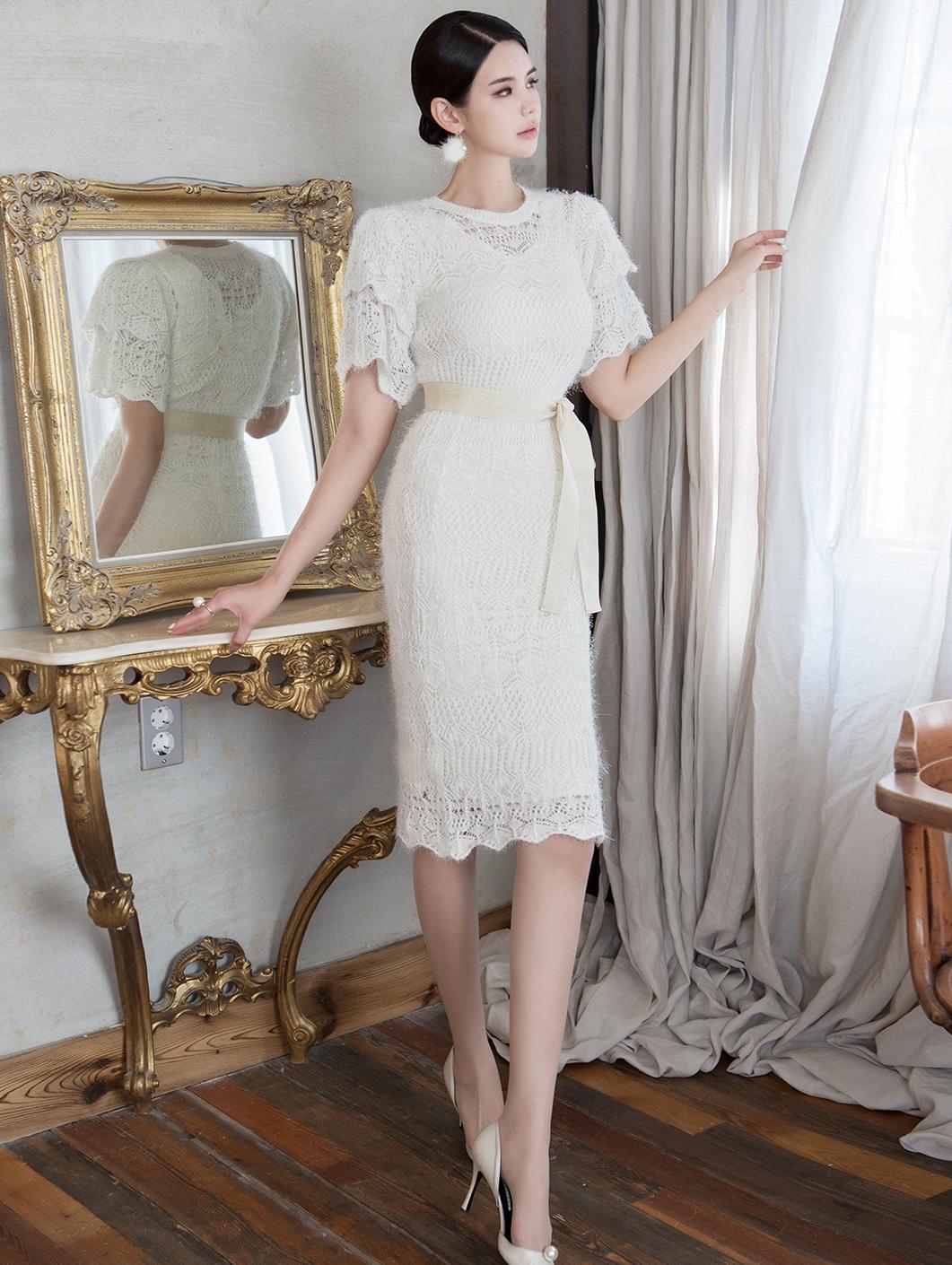 D3945 双层荷叶边针织连身裙 (内里丶腰带组合)