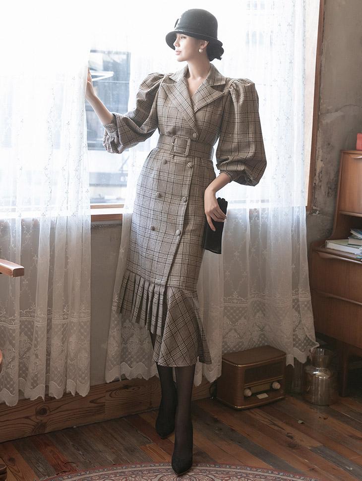 D9115 泡泡袖不规则荷叶边羊毛连身裙 (腰带组合)
