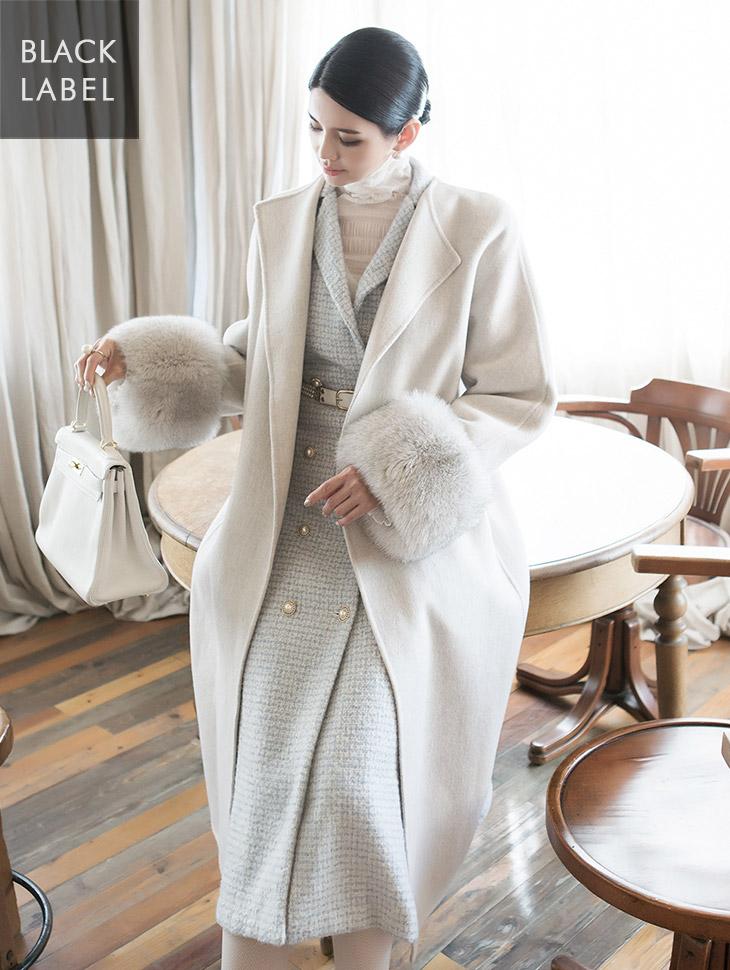 J850 真狐狸袖口羊毛大衣(腰带组合) *高价商品*