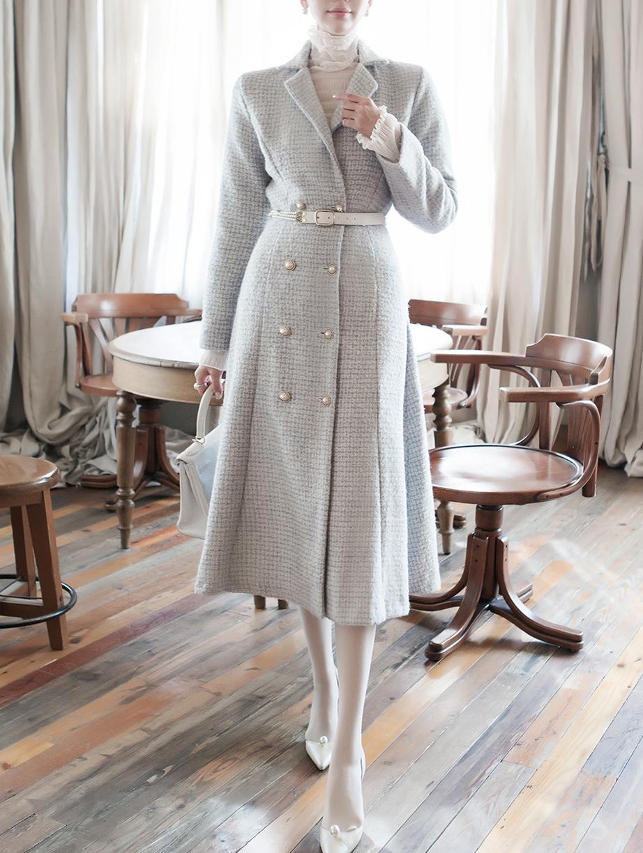 D3943 羊毛粗花呢连身裙