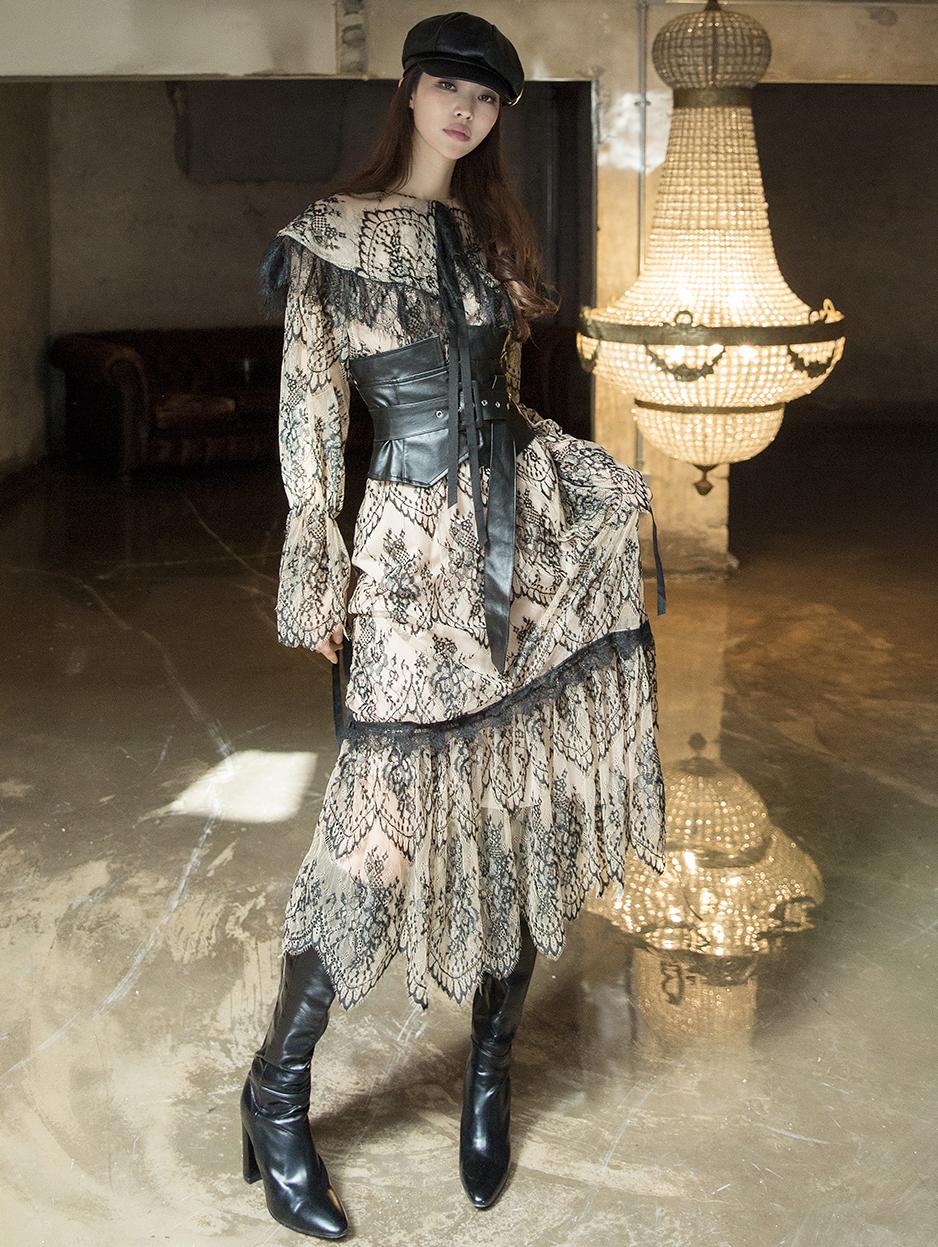 D3942 蕾丝叠层连身裙