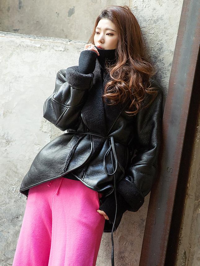 J843 皮革舒适夹克 (绑带组合)