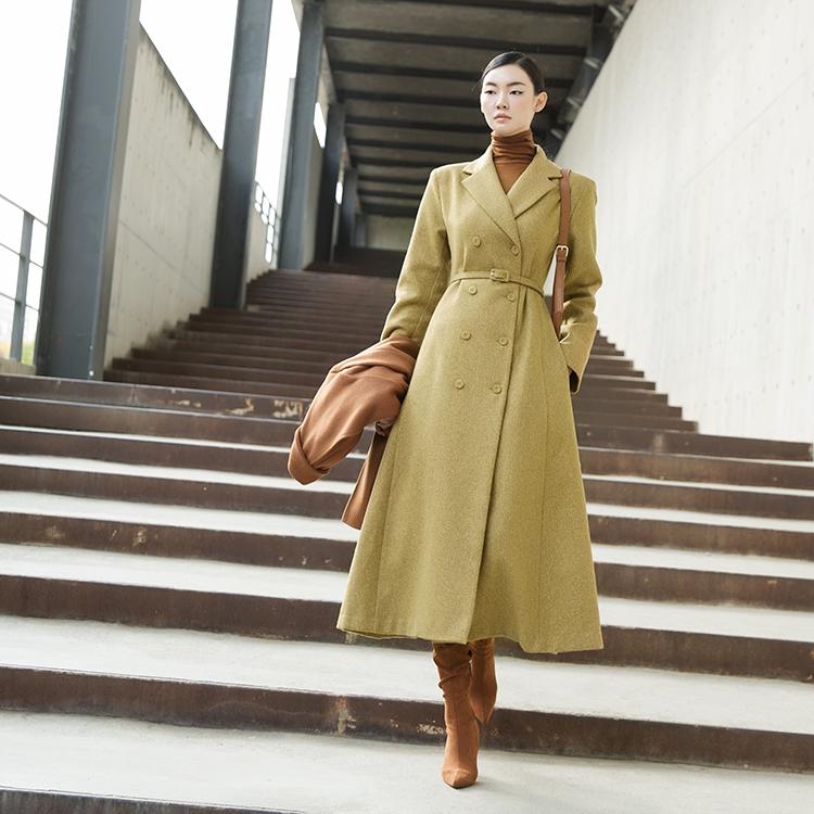 D3941 喇叭裙羊毛连身裙 (腰带组合) *也能用以外套着用*
