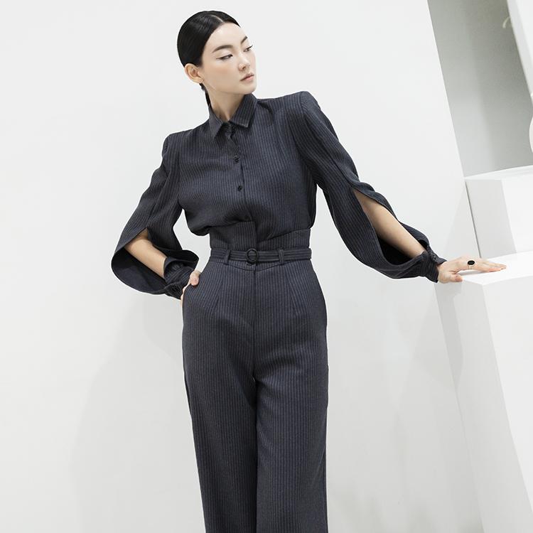 TP1024 直条纹袖子开岔两件式套装 (裤子腰带组合)