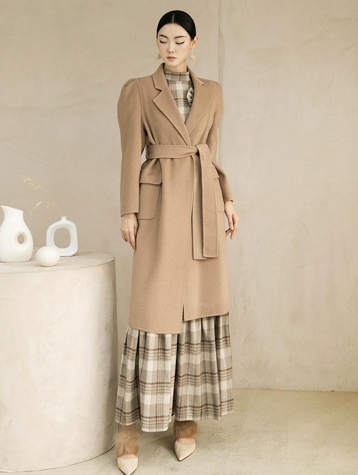 J811 宽袖羊毛大衣 (腰带组合)