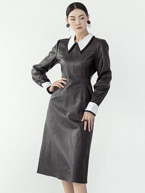 D3951 配色线条重点皮革连身裙