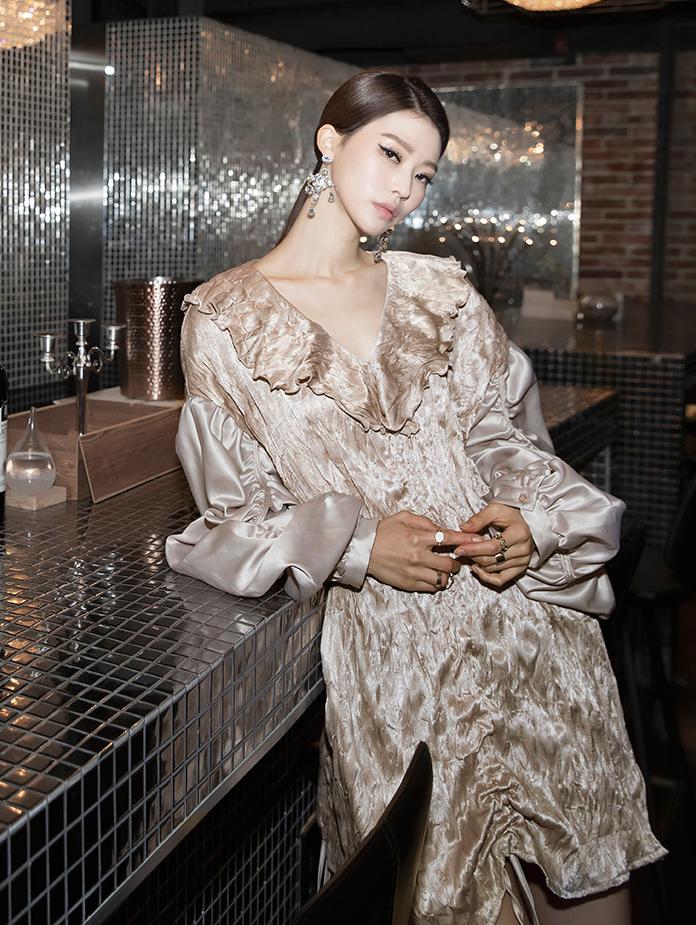 B2534 皱褶雪纺纱 *也可用以连身裙着用*