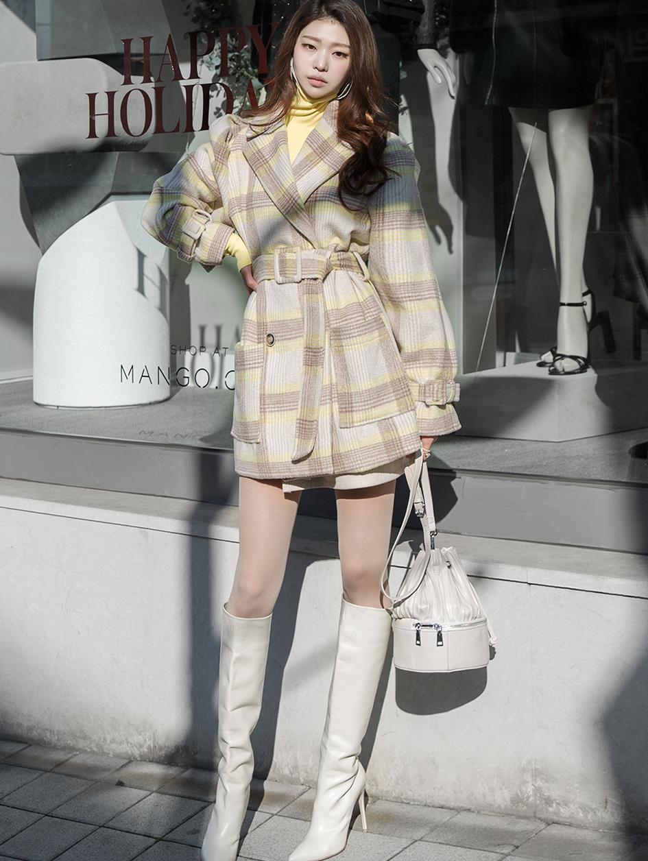 J9039 宽袖显瘦羊毛大衣 (腰带组合)