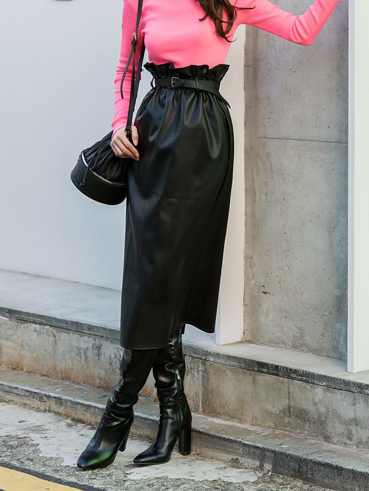 SK2002 高腰皮革半身裙 (腰带组合)