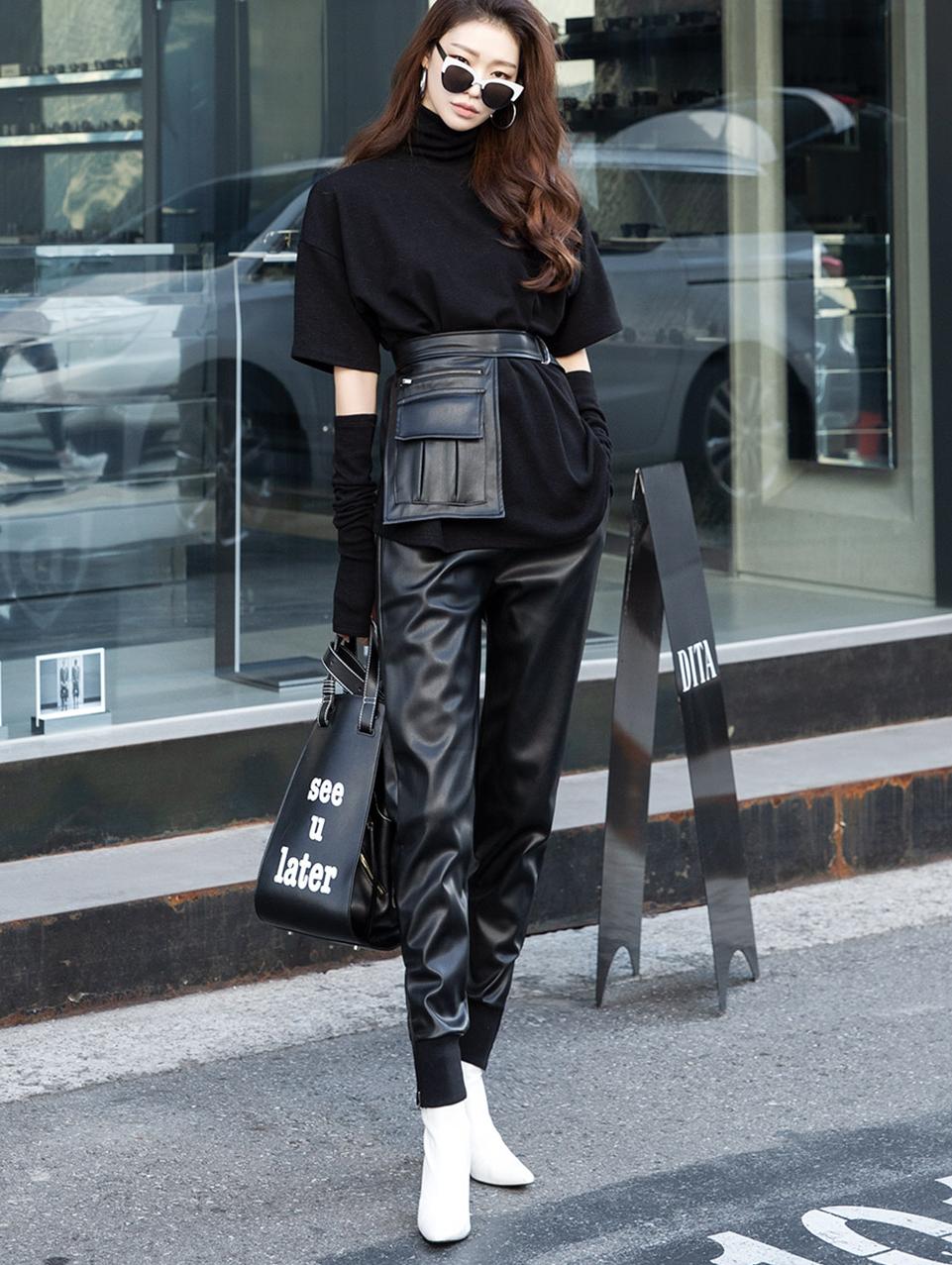 P2184 独特皮革缩口裤 (腰带组合)