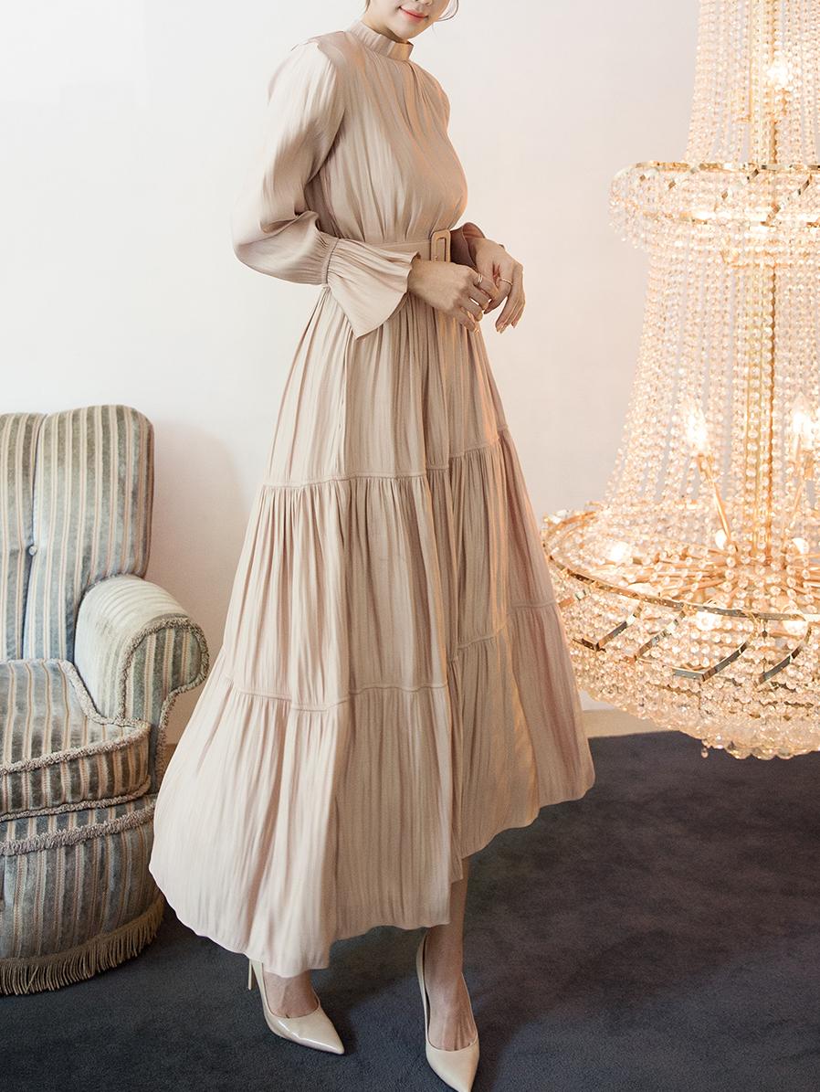 D3894 丝滑长版连身裙 (腰带组合)