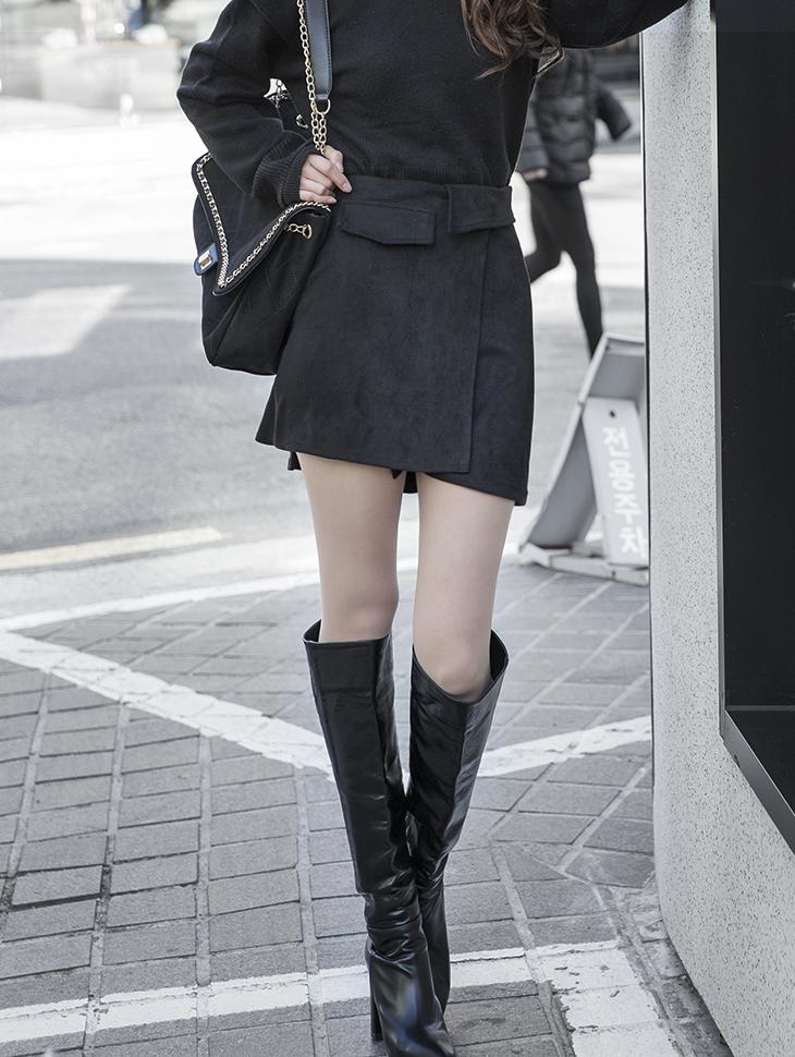 SK2001  钮扣绑带短裙