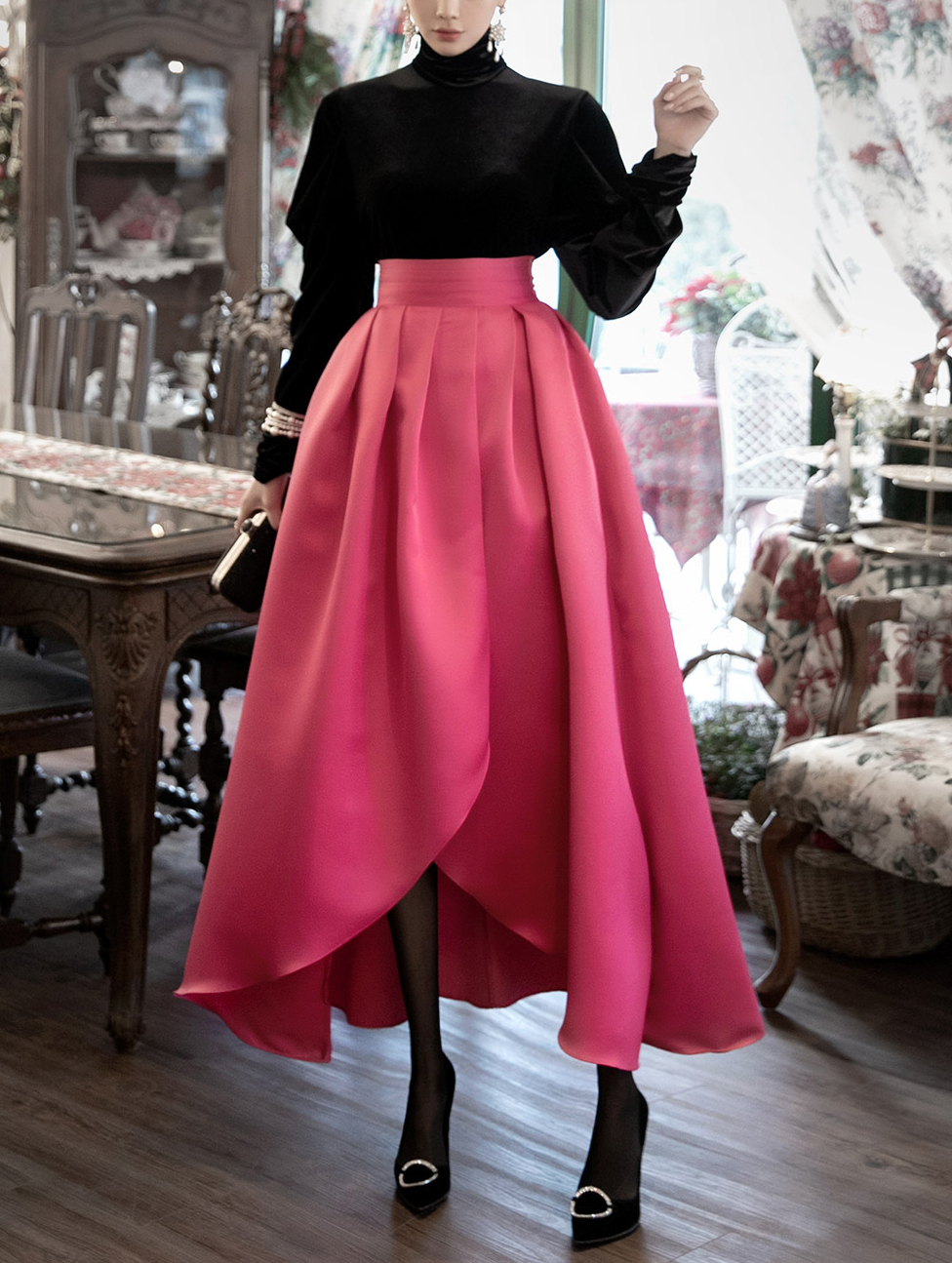 SK9067 宽裕不规则半身裙