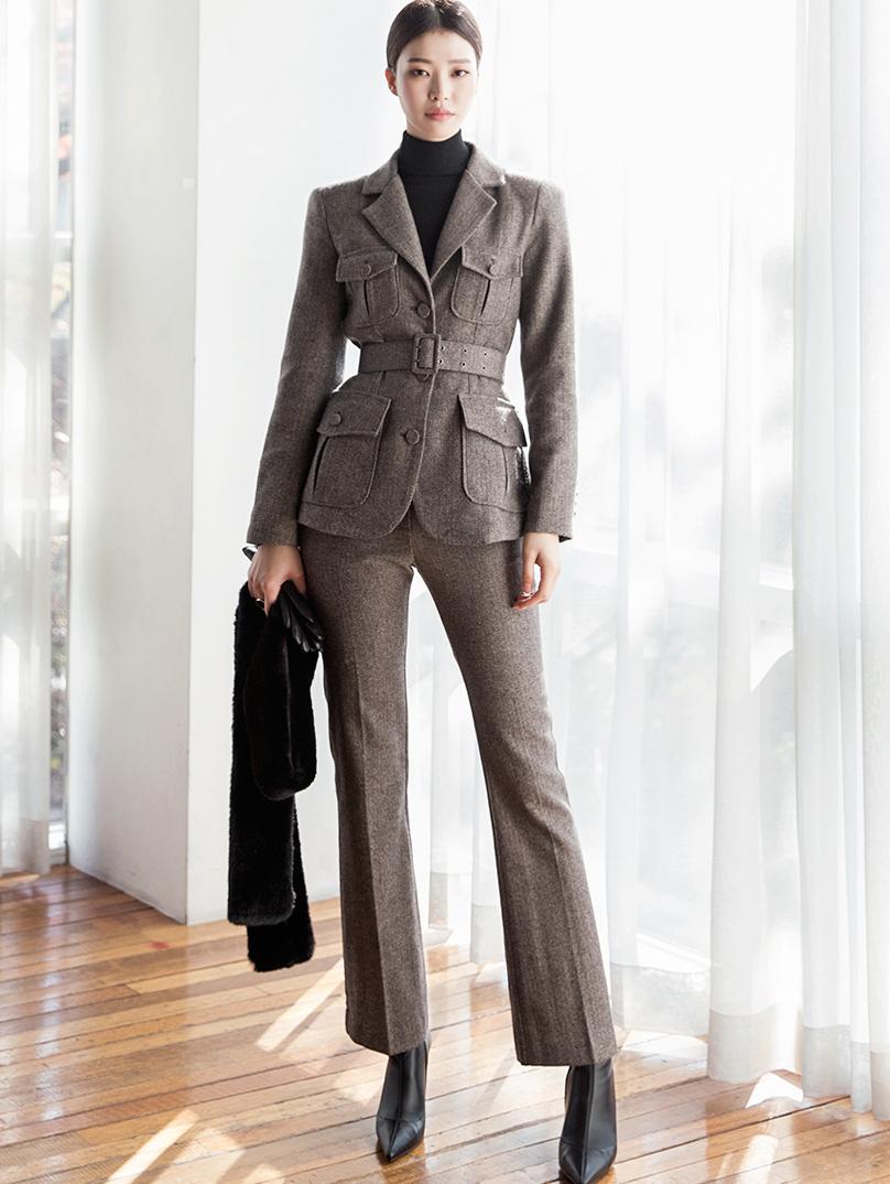 TP1032 人字呢羊毛两件式套装 (夹克腰带组合)