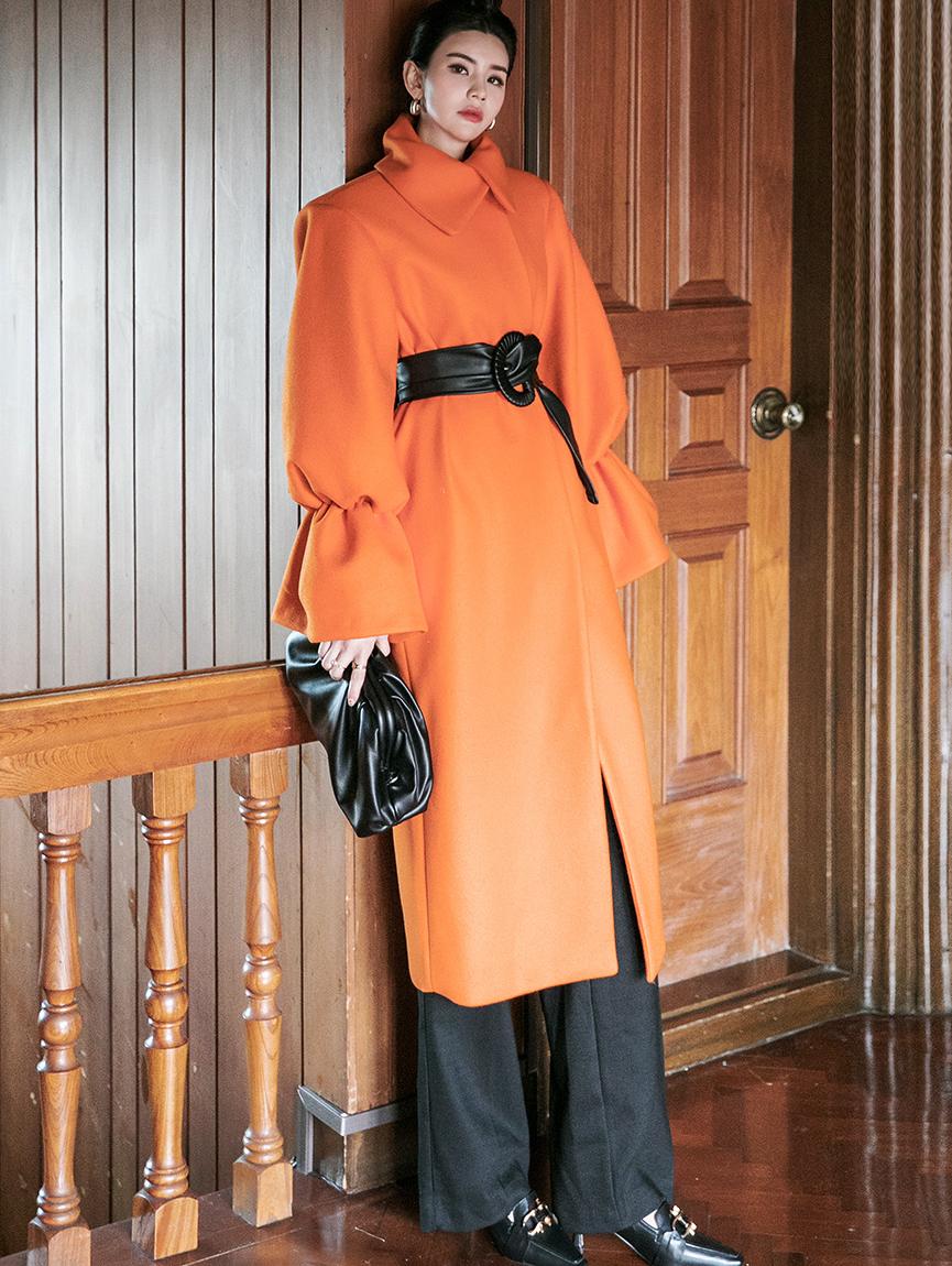 J9044 宽袖曲线长版大衣