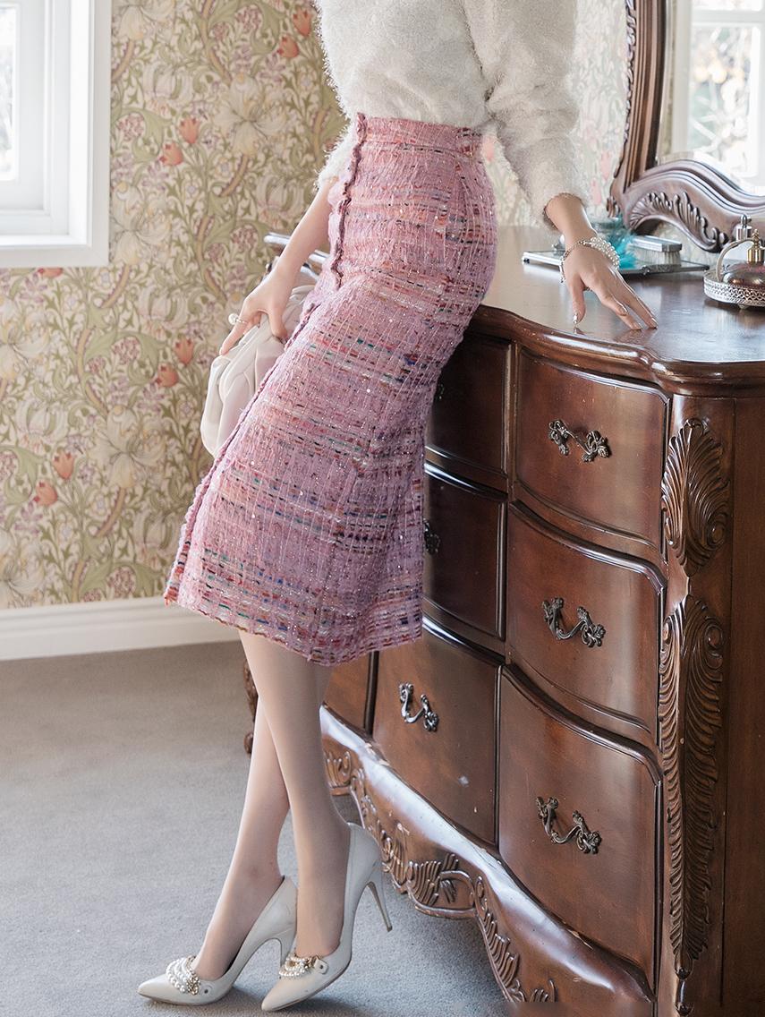 SK2010 粗花呢珍珠半身裙