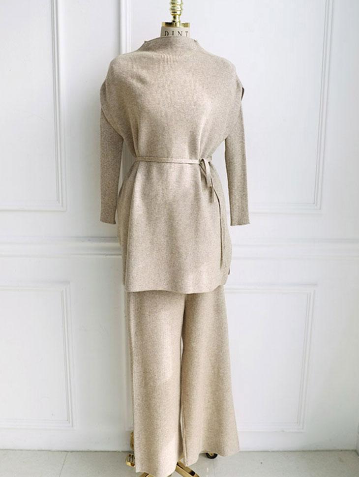 D-4734 lining针织衫三套套(腰带套)