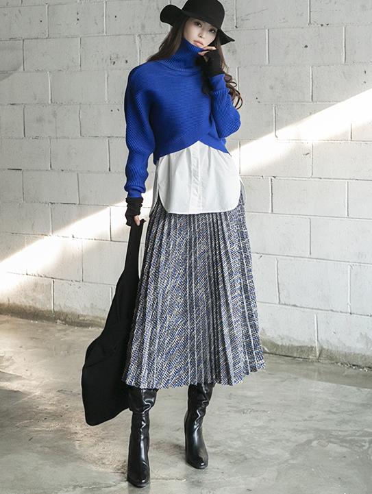 SK2015 粗花呢长版半身裙