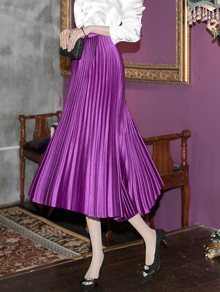 SK2018 丝滑百页半身裙